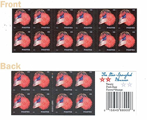 USPS Forever Stamps Star-Spangled Banner Booklet of 20 (Fireworks) - 1