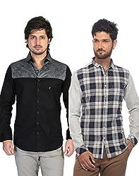 Apris Mens Casual Combo Shirts-GREY-BLACK (3143-3327) (L)