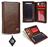 Dark Brown Unisex Wallet / Cell phone device Cover Case fits Motorola DROID RAZR M & NuVur Key Chain (SMENBIN1)