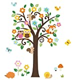Giant Peel & Stick Nursery Decal - Forest Animals & Flowers Tree Wall Art Sticker Decals (Tree Assembles 4.7 Feet Tall)