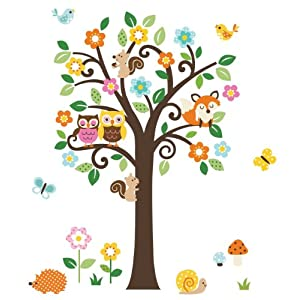 #!Cheap Giant Peel & Stick Nursery Decal - Forest Animals & Flowers Tree for Boys & Girls (Tree Assembles 4.7 Feet Tall)