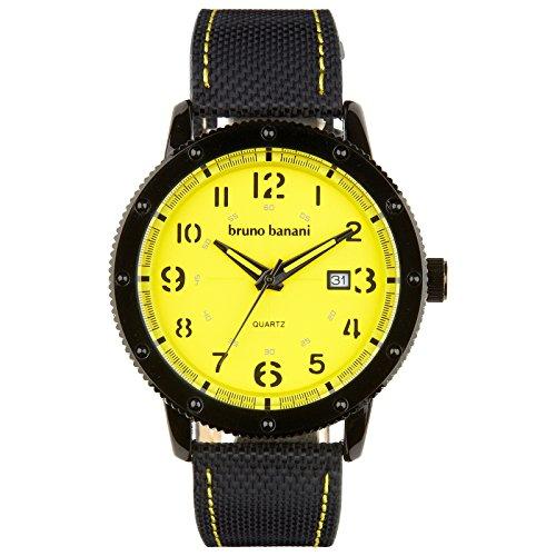 Bruno Banani Men's Quartz Watch Geros Leather Bracelet Black Dial gelb Trend Watch UBR30033