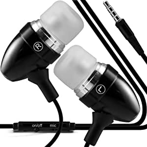 ONX3® Nokia Lumia 630 / Nokia lumia 635 (Black)Premium Quality Aluminium In Ear Earbud Stereo Hands Free Headphones Earphone Headset with Built in Microphone Mic & On-Off Button