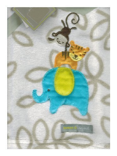 Elephant, Tiger & Monkey Tan Baby Blanket By Blankets & Beyond