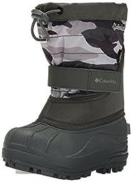 Columbia Child Powderbug Plus Print Winter Boot (Toddler/Little Kid), Charcoal/Light Grey, 12 M US Little Kid