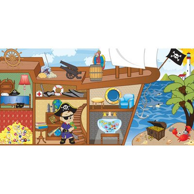 Pirate Boy Wall Mural Eye Color: Brown, Hair Color: Black, Skin Shade: Dark front-1065377