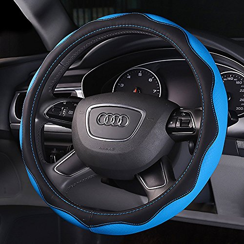 B&Y Leather Automotive Steering Wheel Cover with 38cm/15inch Diameter (blue) (15 Inch Wheel Covers Accord compare prices)