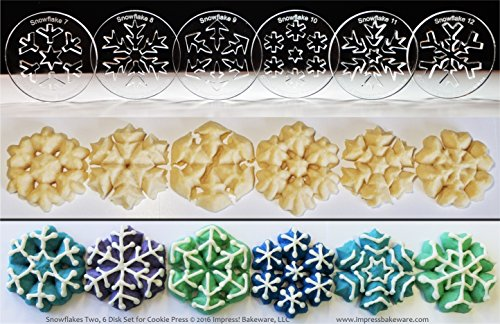 Snowflakes Two 6 Disk Set for Cookie Presses (SIZE M disks for presses that came with METAL disks) (Order Made On January 16th compare prices)