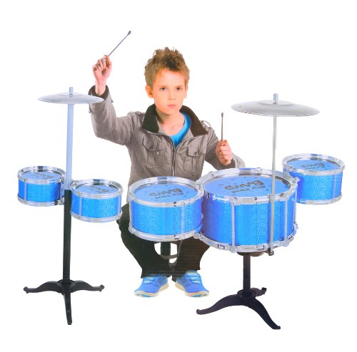 Iplay Universal Two Unit Jazz Drum Set - 12Pc Xtera Large Toy Drum Set With Stand - Musical Instrument Toy Playset - Blue