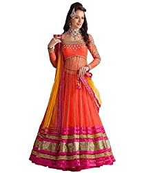 Metroz Wedding Ware Orange Net Embroidered Lehenga Choli