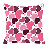 MeSleep Digitally Printed Heart Valentine Cushion Cover - Purple