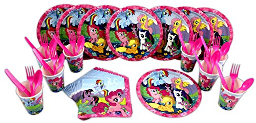 My Little Pony Lunch Plates, Napkins, Cups, Forks, Spoons, Knives Birthday Party Set for 8
