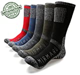MIRMARU M203-Men's 5 Pairs Multi Performance Outdoor Sports Hiking Trekking Crew Socks (Black,Char,Olive,Blue,Red)