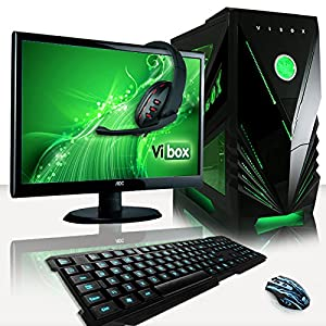 "VIBOX Warrior Package 4X - Fast 4.0GHz 6-Core, High Spec, Desktop Gaming PC, Computer Complete Full Package Including: 22"" Monitor, Headset, Gamer's Keyboard & Mouse Set AND a Neon Green Internal Lighting Kit (AMD FX 6300 Six Core Processor, 2GB Nvidia Geforce GTX 960 HDMI Graphics Card, Raijintek Aidos CPU Cooler, High Grade 500W PSU, 2TB Hard Drive, 16GB 1600MHz RAM, Memory Card Reader, No Operating System)"