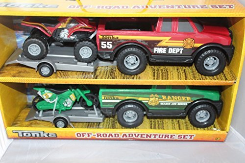Tonka Off-road Adventure Set Fire Department and Ranger Pick Up Truck with Matching Suv and motocycle (Tonka Pickup Truck compare prices)