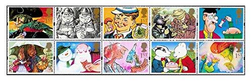 grusse-aus-1993-geschenk-briefmarken-10-x-royal-mail-1st-class-briefmarken-mit-peter-hase-rupert-der