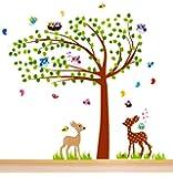 Nursery Wall Decals, Nursery Tree Wall Decals XL, Nursery Bambi, Owls, Birds Wall Decor, Kids Room Wall Decals