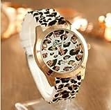 Gift-HK Sexy Wild Leopard Geneva Silicone Band Quartz Analog Wrist Watches Women Girls (Ivory Leopard)