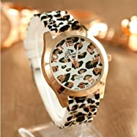 Emma Purbrick Sexy Wild Leopard Geneva Silicone Band Quartz Analog Wrist Watches Women Girls High Quality Gift (White Leopard)