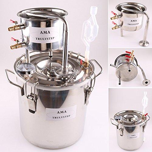 FayeLong NEUF Maison DIY 30 Litre Acier Inox Distillateur Alambic Distillation à la VapeurThermomètre Eau Spiritueux Vin Huile Essentielle Fabriquer