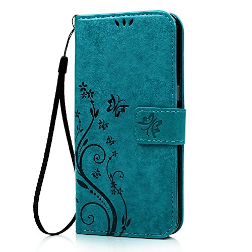 Galaxy S7 Edge Wallet Case - Mavis's Diary Fashion Floral Butterfly Embossed PU Leather Magnetic Flip Cover Card Holders & Hand Strap for Samsung Galaxy S7 Edge with Bling Dust Plug & Pen - Blue (Blue Dust Plug compare prices)
