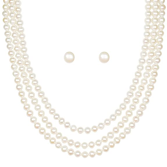 Classique Designer Silver Alloy With Gold Plated Round Pearl Necklace Set For Women(CP211) at amazon
