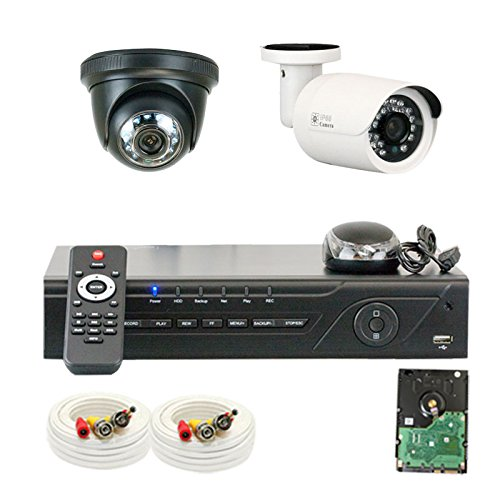 """Professional 4 Channel H.264 960H & D1 Realtime Dvr With 2 X 1/3"""" Color Sony Cmos Camera, 850 Tv Lines, 3.6Mm Lens. One Is 24Pcs Infrared Led, 49 Feet Ir Distance And One Is 12Pcs Infrared Led, 26 Feet Ir Distance"""
