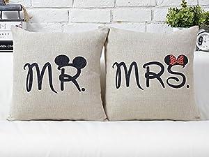 mr mrs liebhaber hochzeit kissen retro baumwolle kissen. Black Bedroom Furniture Sets. Home Design Ideas