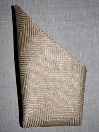 Mocha Cream Herringbone Silk Handkerchief - by Royal Silk