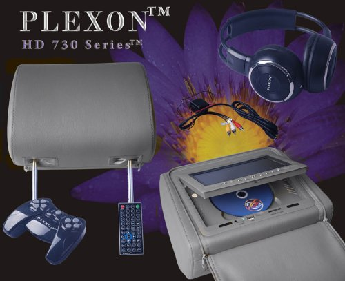 "Plexon® New Pair Gray 7"" Zipper Cover Car Headrest Dvd Monitors, Wireless Dual Channel Headphones, 32 & 8 Bit Games And Controllers, And Inc. 2 Cigarette Power Adapters Free!"