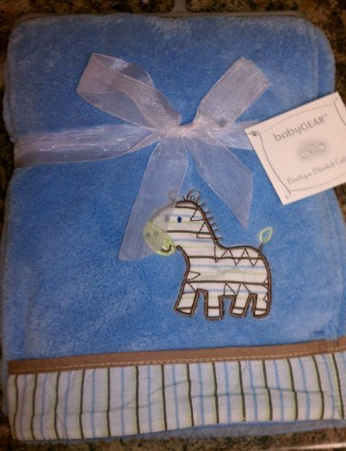 "babyGEAR light blue Zebra blanket 30""X40"""