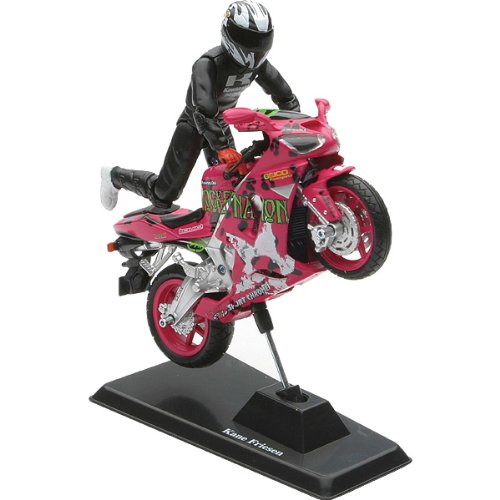 New Ray Kawasaki ZX-6RR Ninja Kane Friesen Replica Motorcycle Toy - Chartreuse/Black/Cust Graphics / 1:18 Scale