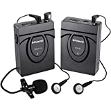 Polaroid 2.4GHz Wireless Microphone System For SLR Cameras & Camcorders Includes Bee Microphone with Clip & A Pair of Earphones