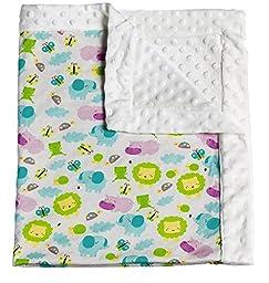 Noah\'s Ark Patterned Minky Dot Blanket