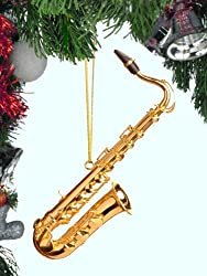 Brass Saxophone Musical Music Instrument Christmas Holiday Ornament