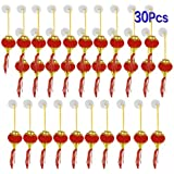 uxcell® Plastic Bead String Hanging Adorn Chinese Lantern 30 Pcs Gold Tone Red