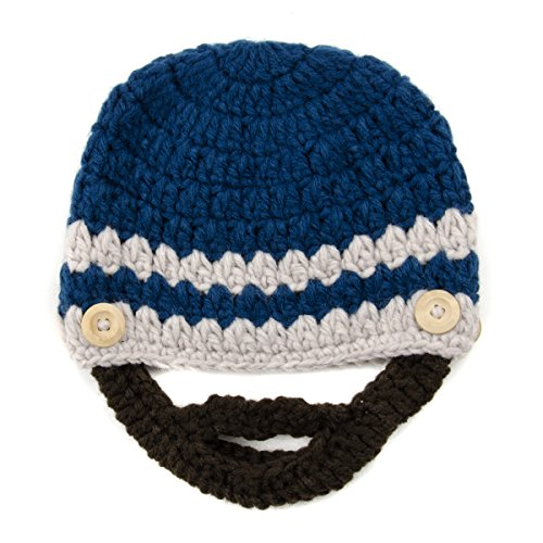 Blue and Beige Beanie with Beard - Boy Girl Toddler Kid (Large)