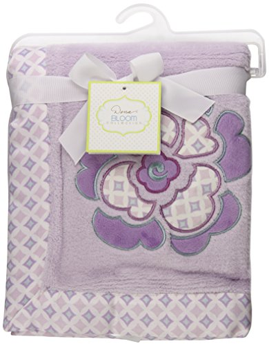 Dena Bloom Embroidered Boa Blanket, Lavender/Purple, Infant back-1013321