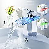 Auralum Robinetterie lumineuse LED RGB débit en cascade pour salle de bain et cuisine Chrome