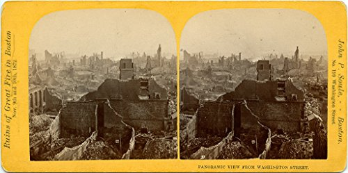 POSTER Stereograph Boston 1872 Text på baksidan Text on back of postcard Ruins of Great Fire Boston Washington Street 1872 John P Soule Boston Swedish Literature Finland Wall Art Print A3 replica