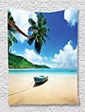 Ambesonne Ocean Coastal View Decor Collection, Boat on the Beach Mahe Lagoon and Forested Area Picture, Bedroom Living Kids Girls Boys Room Dorm Accessories Wall Hanging Tapestry, Blue Ivory Green