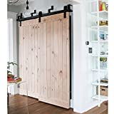 WinSoon Ship From USA 5FT Antique Bypass Double Sliding Barn Wood Door Hardware Cabinet Closet System Black