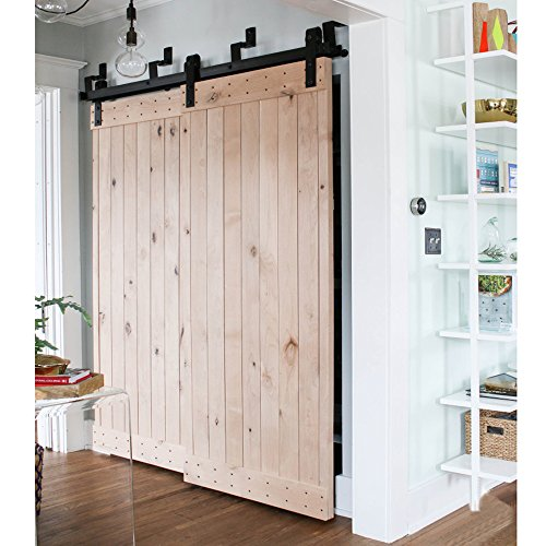 WinSoon Ship From USA 6FT Antique Bypass Double Sliding Barn Wood Door ... - WinSoon Ship From USA 6FT Antique Bypass Double Sliding Barn Wood