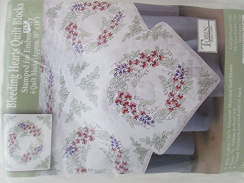 Tobin Craft Bleeding Hearts Stamped Quilt Blocks To embroider