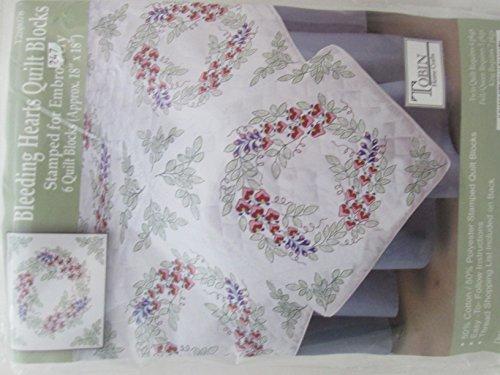 Tobin Craft Bleeding Hearts Stamped Quilt Blocks To embroider