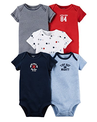 Carter's Baby Boys' 5 Pack Bodysuits (Baby) - Tiny But Mighty Mix 18M