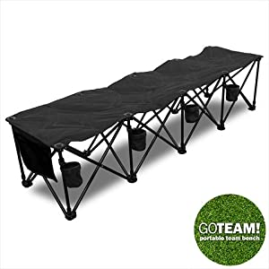 Goteam 4 Seat Portable Folding Team Bench Black Sports Outdoors