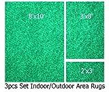 Indoor-outdoor Irish Spring , 3 Piece Set, Patio Rug's (8x10 Area Rug, 3x8 Runner, 2x3 Mat)