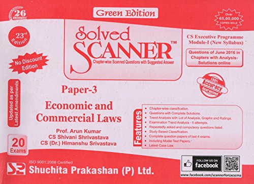 Solved scanner CS Executive Programme Module-I (New Syllabus) Paper-3 Economic and Commercial Laws  available at amazon for Rs.181