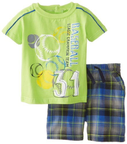 Kids Headquarters Baby-Boys Newborn Lime Crew Neck Tee With Plaided Shorts, Green, 6-9 Months front-979279